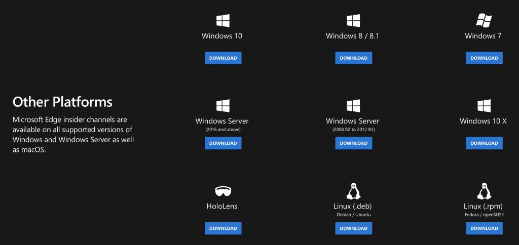 Microsoft edge insider platforms