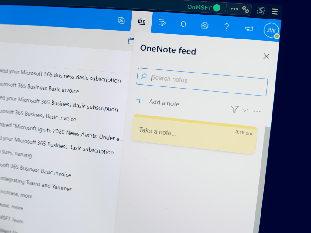 Photo showing the OneNote feed in Outlook web app