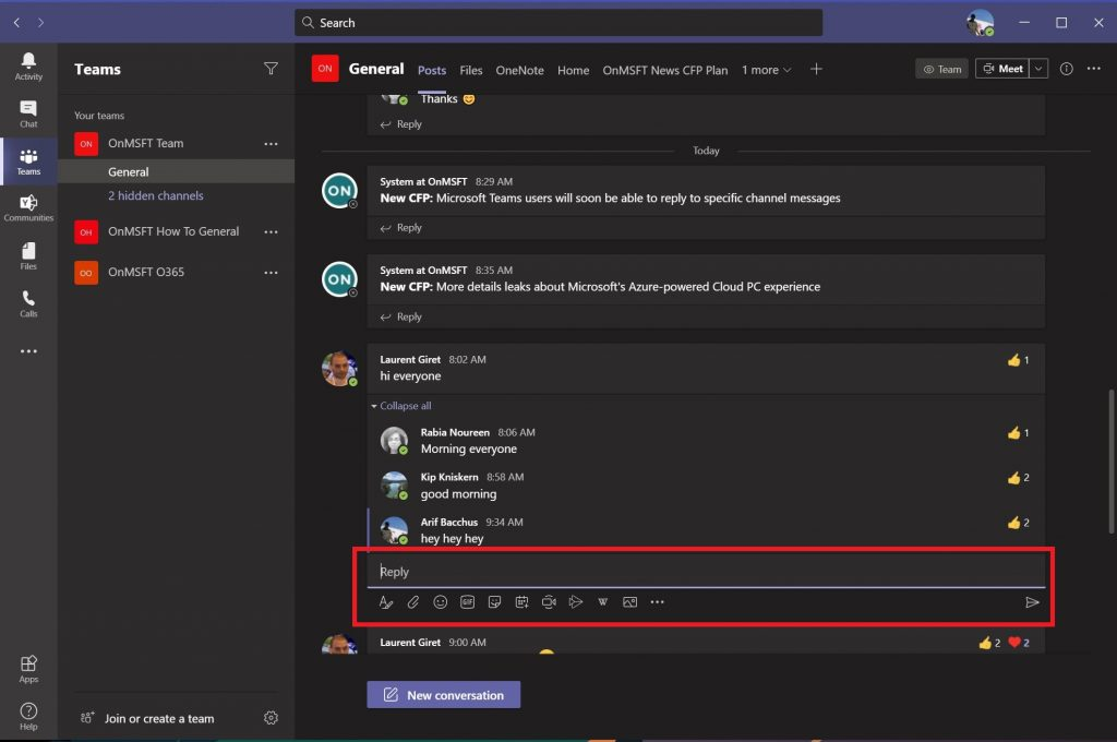 Teams, Reply, Thread
