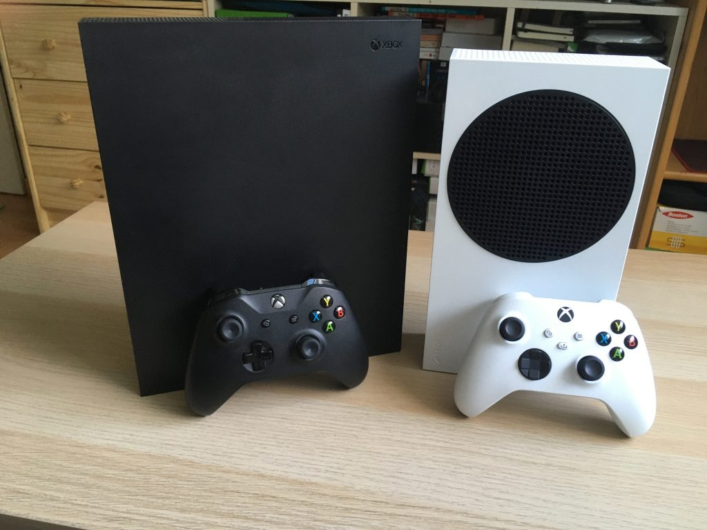 Xbox one x and xbox series s with their controllers