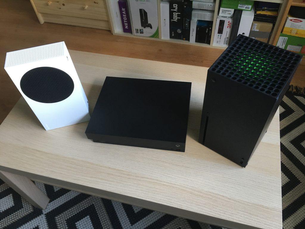 Xbox one x next to xbox series s and xbox series x 2