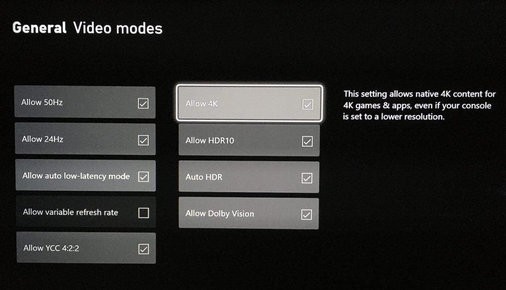 Xbox series x video modes