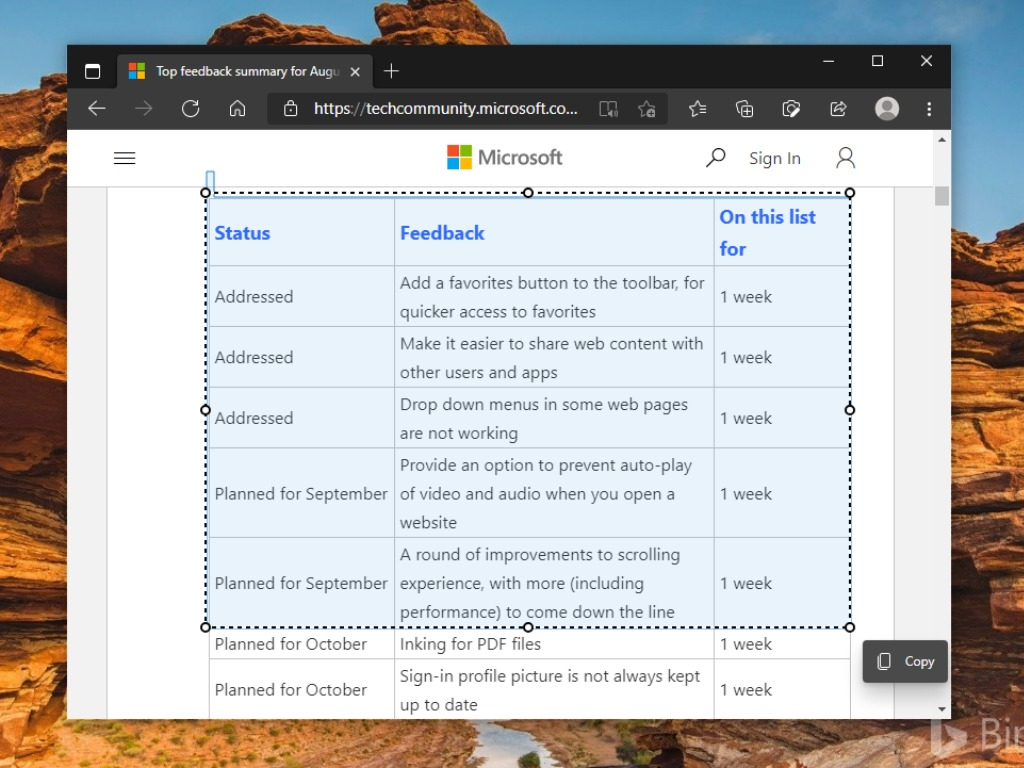 Enable Smart Copy Microsoft Edge