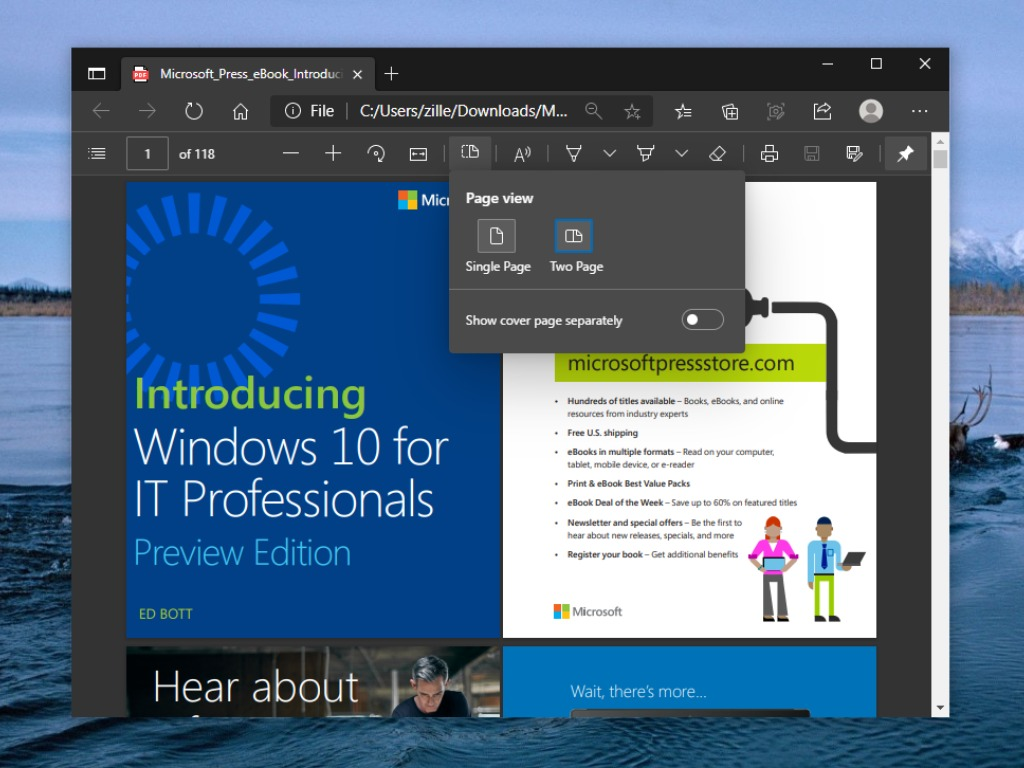 Enable two page view for Pdf in Microsoft Edge