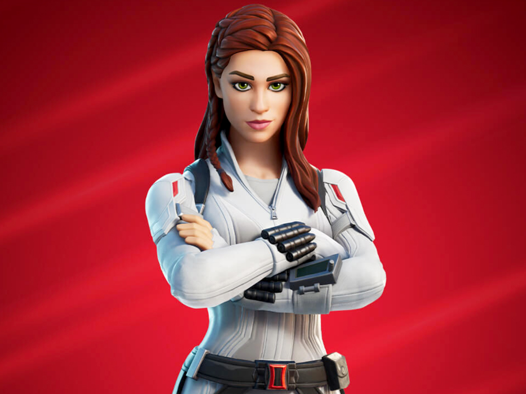 Black Widow in Fortnite video game on Xbox One and Xbox Series X.