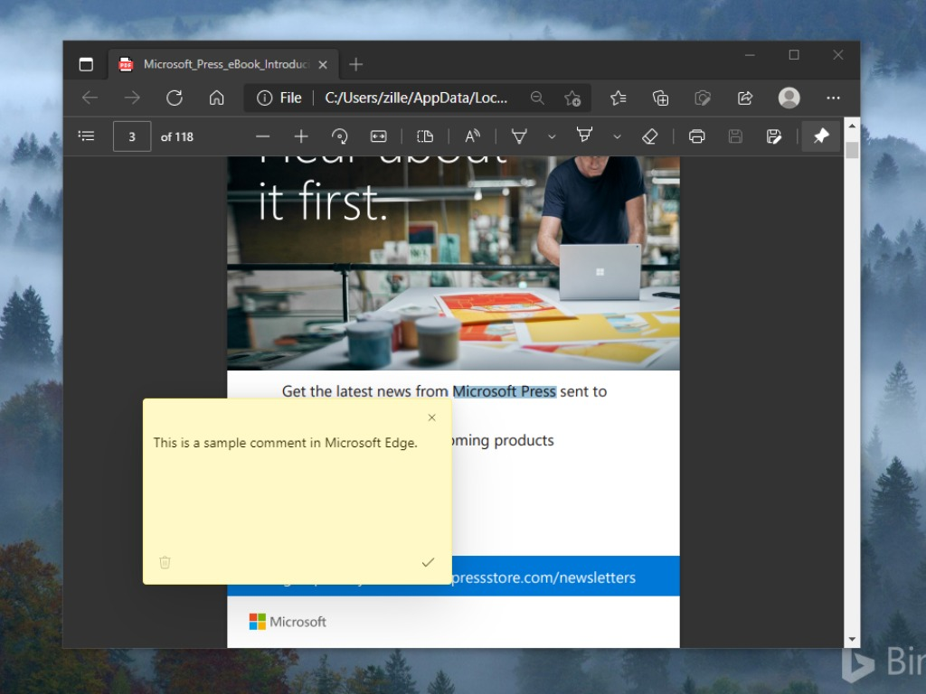 Microsoft Edge Comment Pdfs