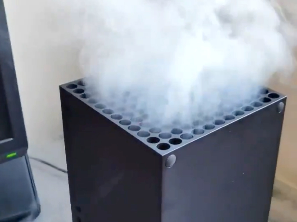 Xbox Series X with vape smoke.