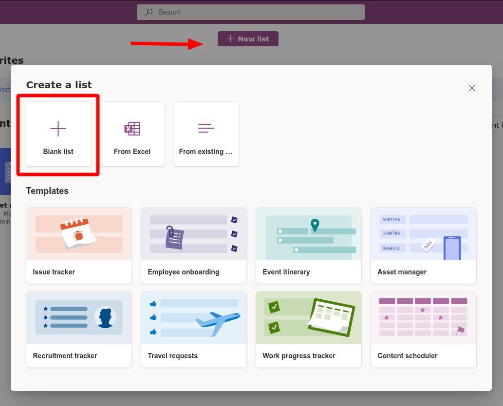 Screenshot of list creation in Microsoft Lists