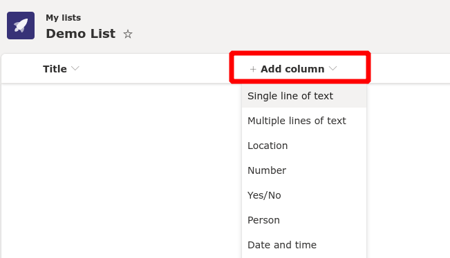 Screenshot of column creation in Microsoft Lists