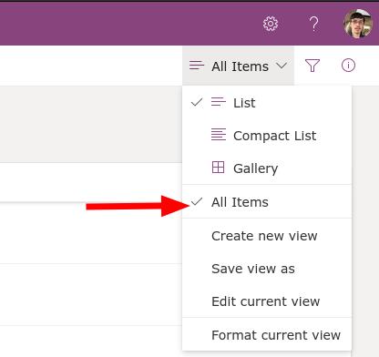 Screenshot showing microsoft lists view selection menu
