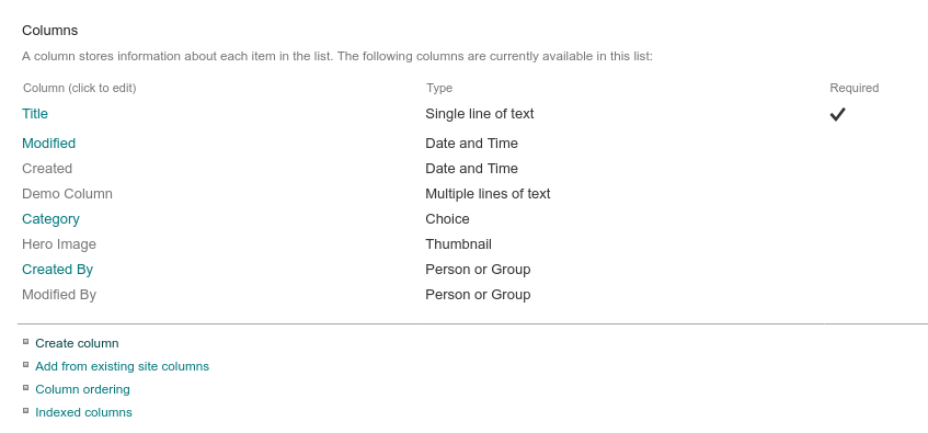 Screenshot of configuring a microsoft lists list using the sharepoint settings interface