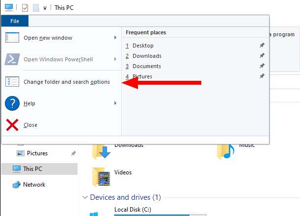 Screenshot showing File Explorer options
