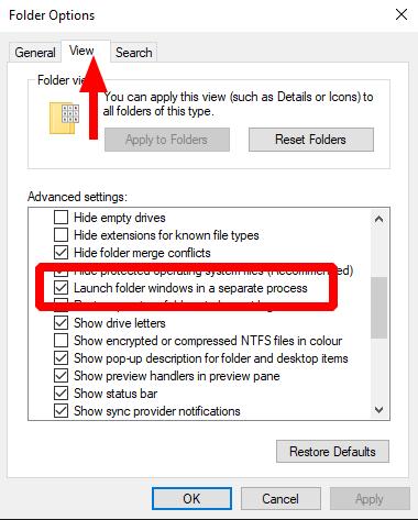 Screenshot of enabling separate file explorer processes in windows 10