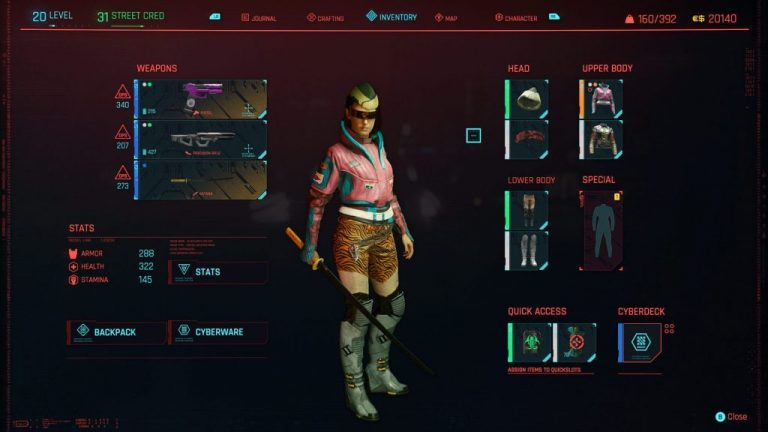 Cyberpunk 2077 inventory