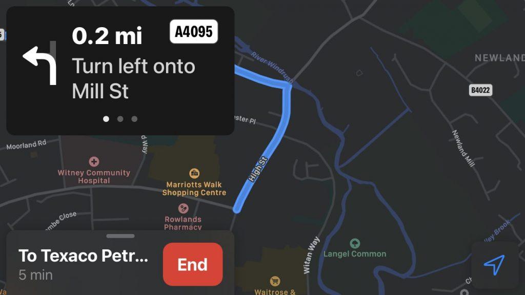 Screenshot of Apple Maps on iOS 14