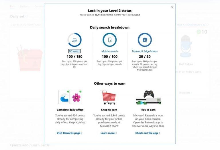 Level 2 Bonus Microsoft Rewards