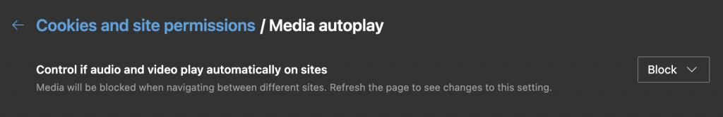 Microsoft Edge Media Autoplay Setting