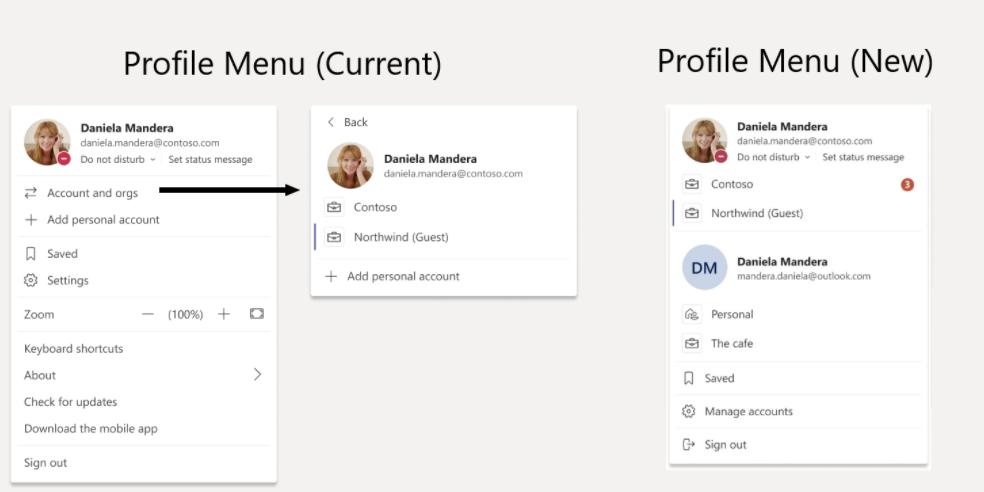 Microsoft teams new profile menu