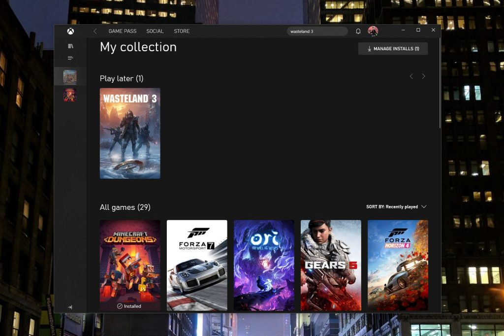 Xbox App For Windows 10 My Collection