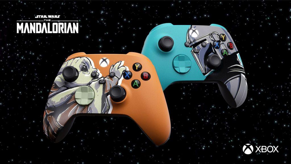 Mandalorian Xbox controllers with Grogu and Din Djarin