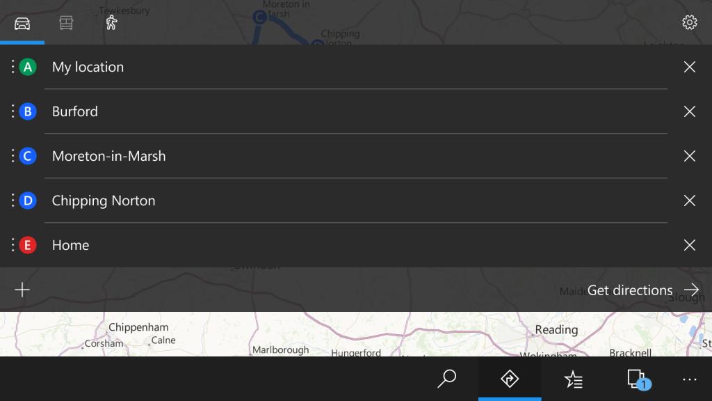 Screenshot of Windows Maps on Windows 10 Mobile
