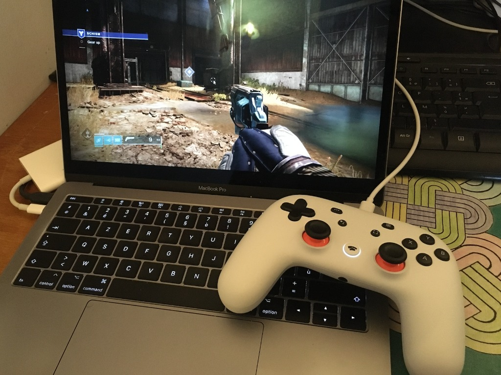 Google Stadia Controller Connected To Macbook Pro