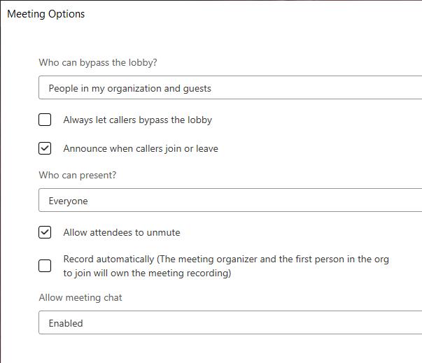 Outlook Windows Microsoft Teams Large Meeting Options