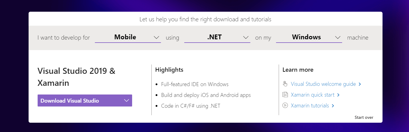 Visual Studio Tool Selector Result Xamarin Visual Studio