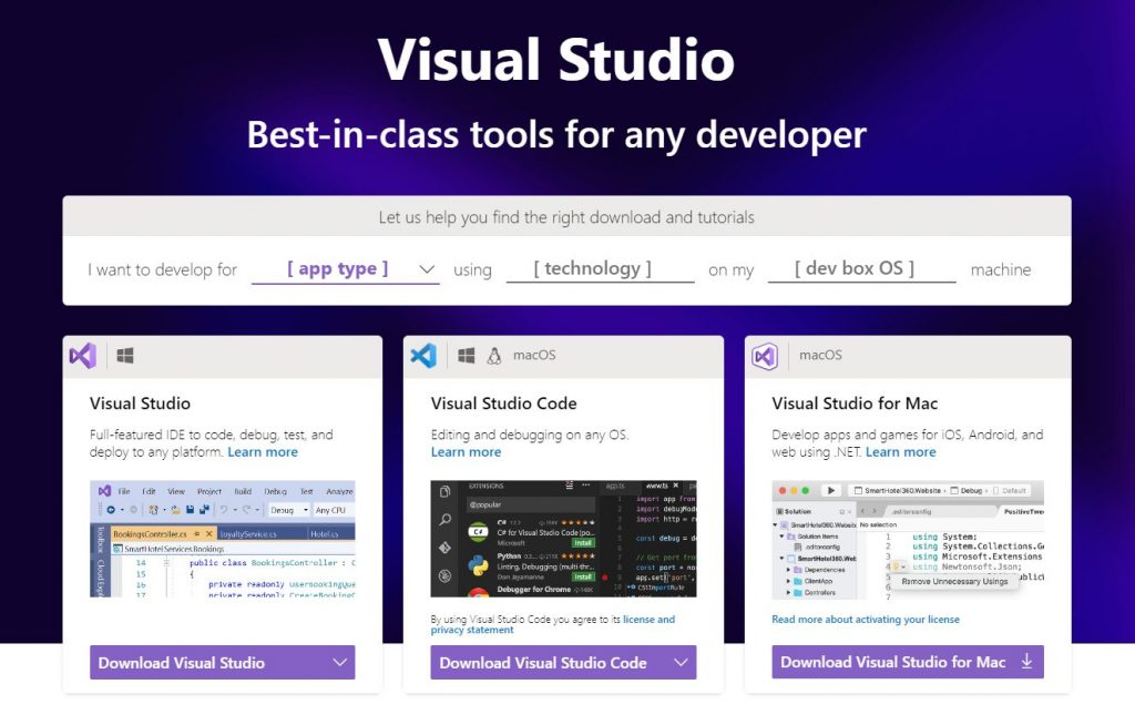 Visual Studio Tool Selector