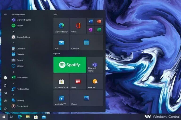 Windows 10 redesigned start menu sun valley mockup windows central