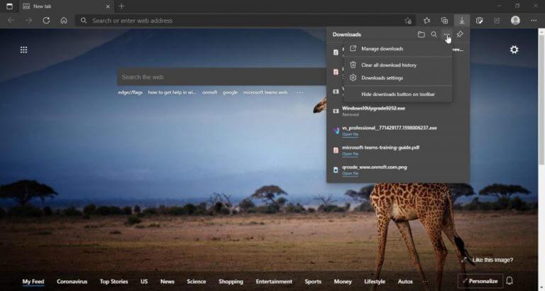 Microsoft Edge Downloads flyout 3