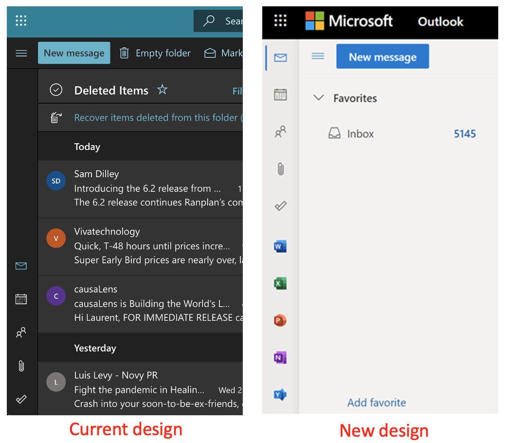 Outlook For The Web New Sidebar