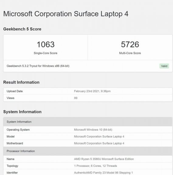 Geekebch Results Surface Laptop 4 768x768