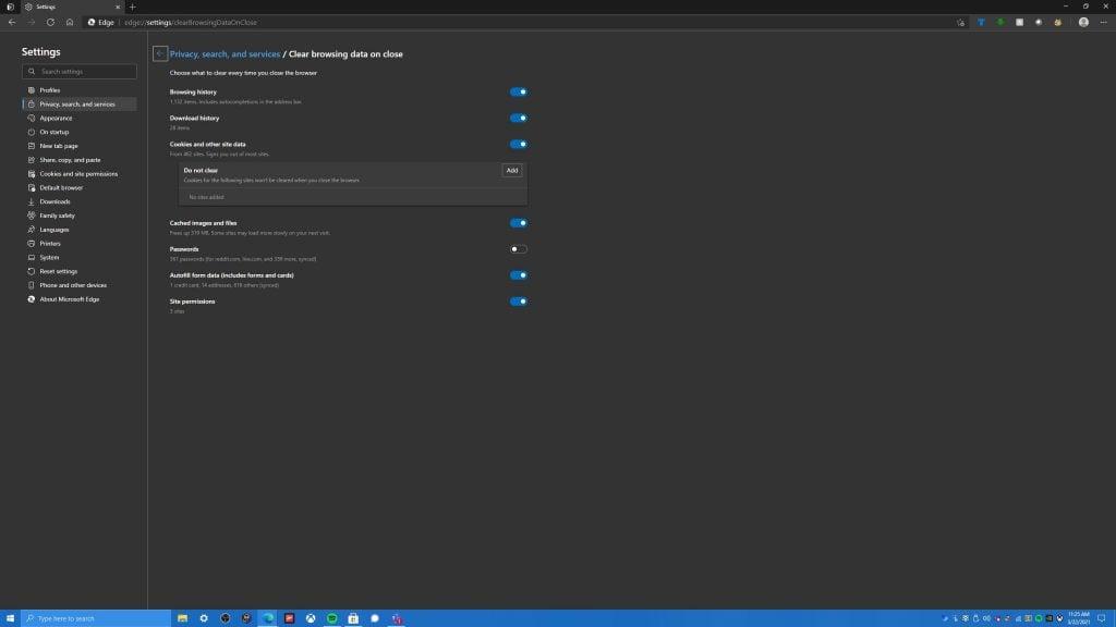 Microsoft Edge Clear Browsing Data On Close