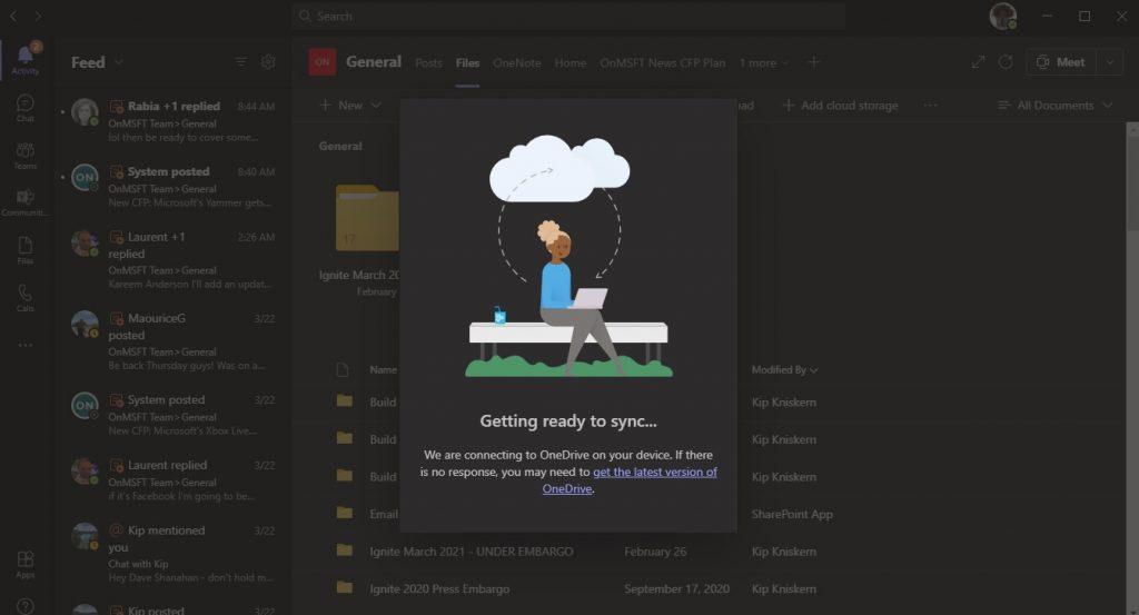 Onedrive Sync Microsoft Teams