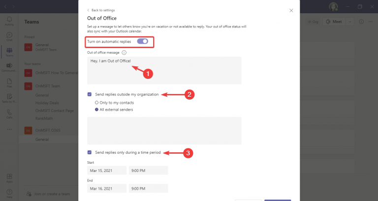 Microsoft teams out of office