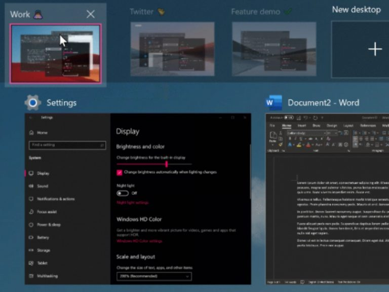 Windows 10 build 21337 virtual desktops improvements