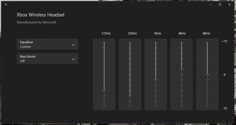 Xbox Accessories App Equalizer Settings