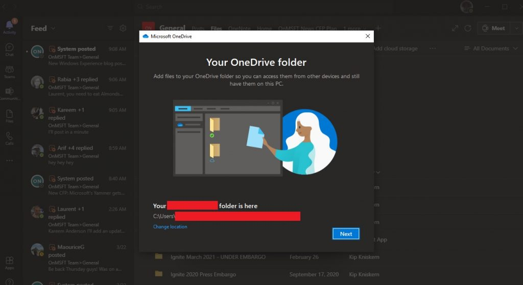 Your OneDrive Folder