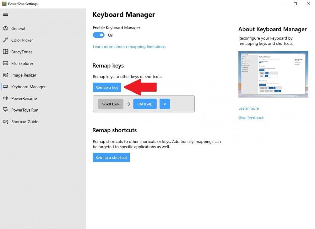 Delete a key remap
