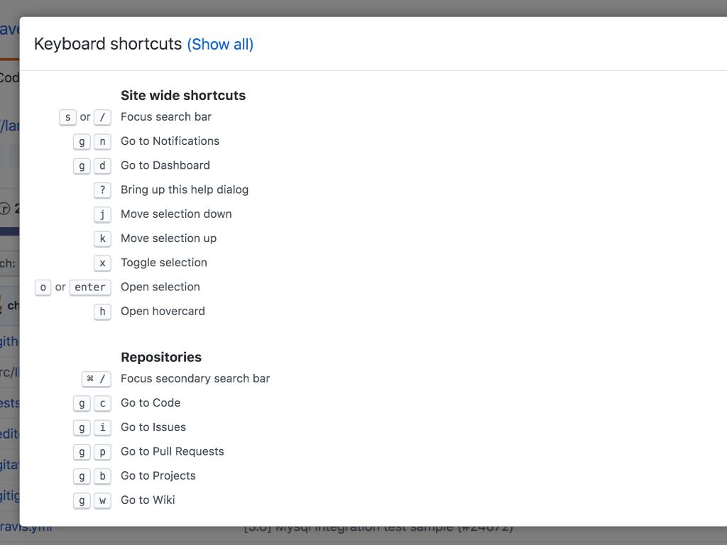 Github keyboard shortcuts