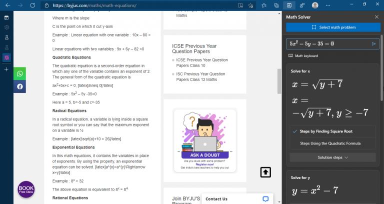 Microsoft edge math solver 3