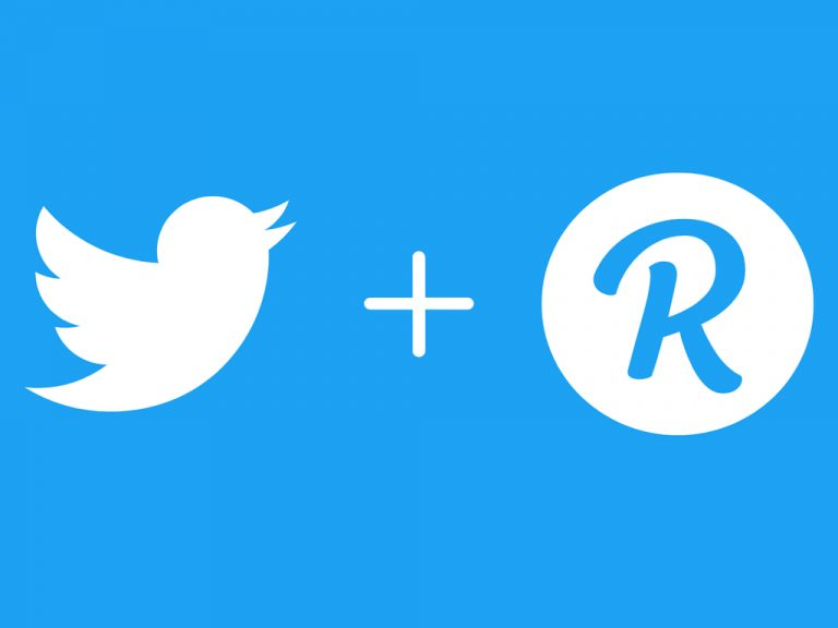 Twitter and Revue logos