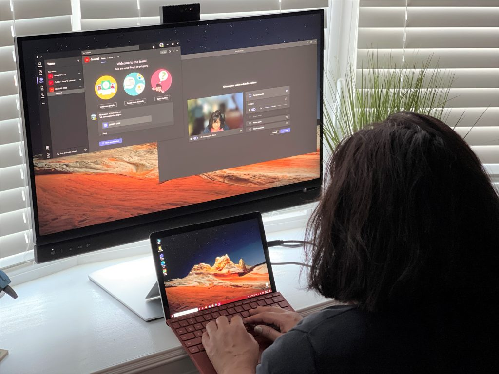 Dell 2 display with microsoft teams