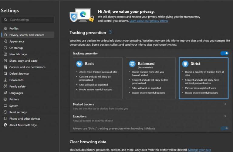 Microsoft Edge Privacy