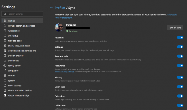 Microsoft Edge History Sync