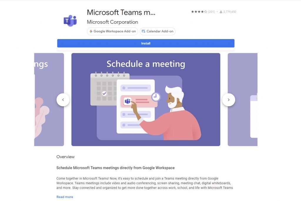 Microsoft Teams Google Workspace Add On
