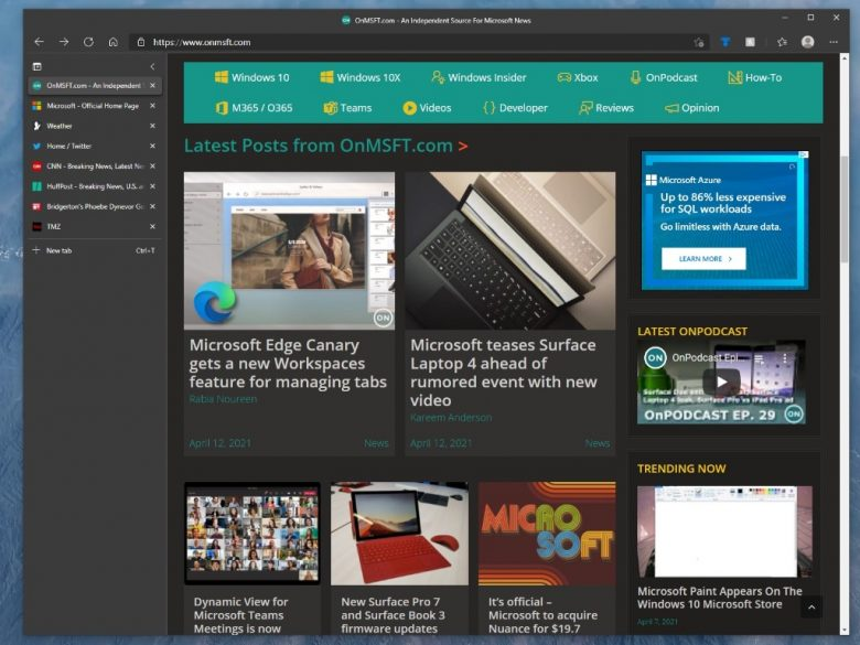 How to turn on vertical tabs in Microsoft Edge to browse faster