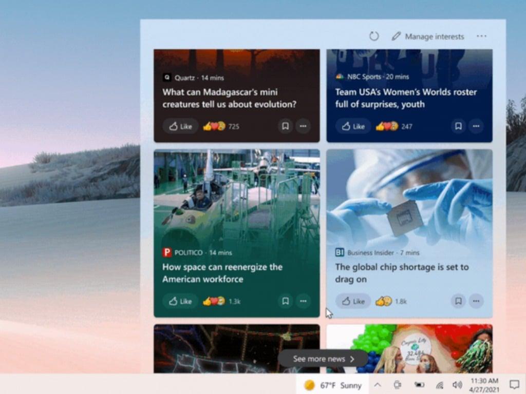 News And Interests In The Windows 10 Taskbar