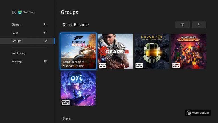 Quick resume group on xbox series x|s
